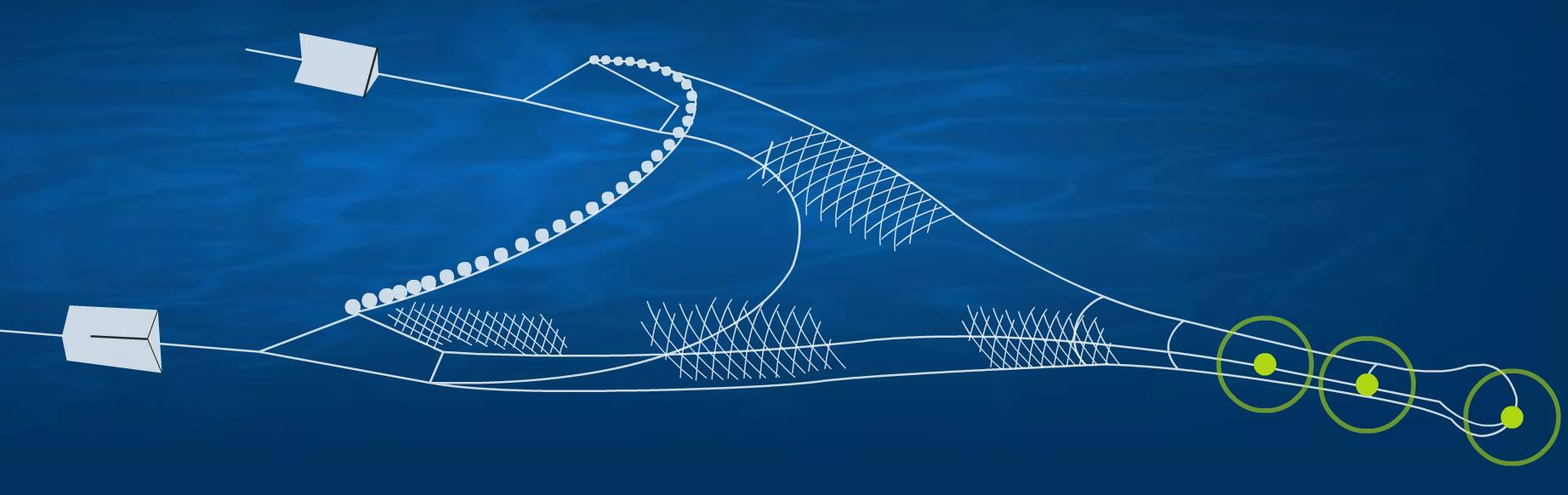 Illustration of trawl with sensors